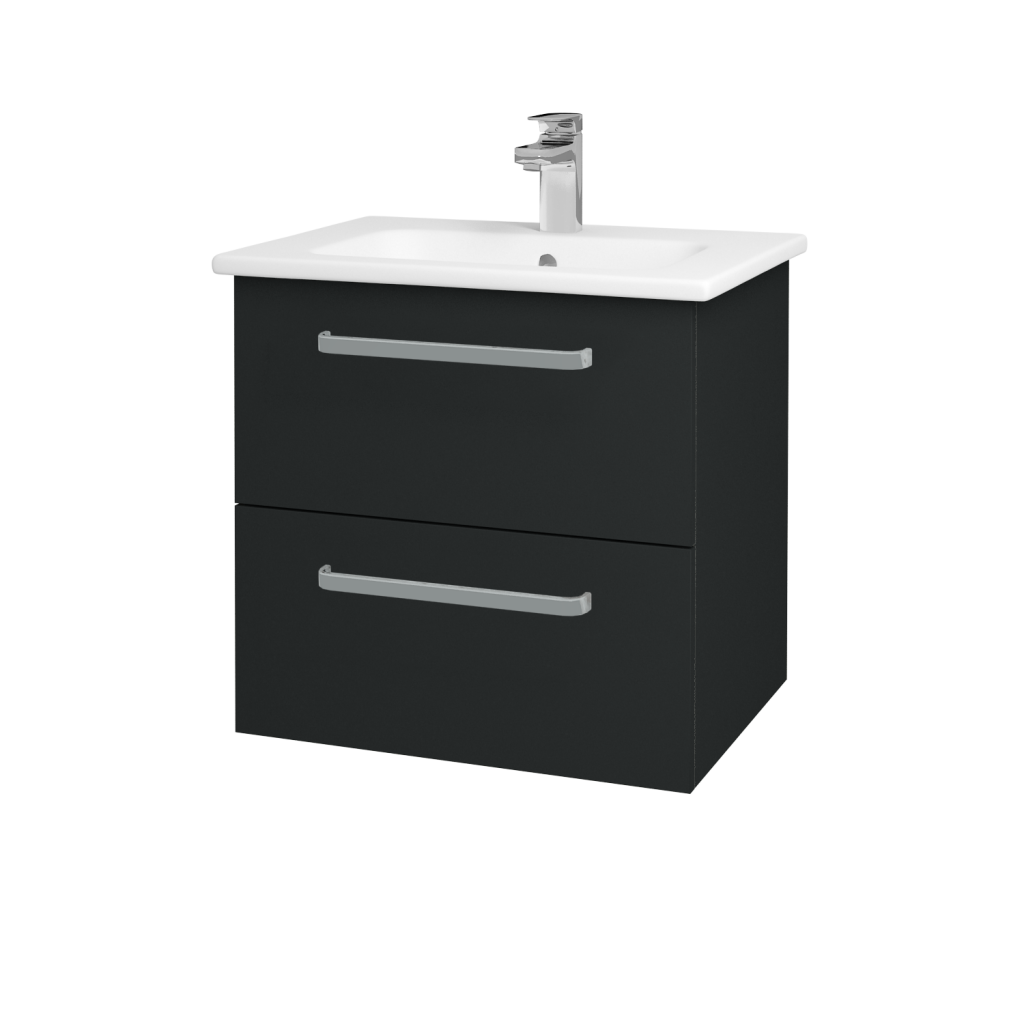 Dřevojas - Koupelnová skříň GIO SZZ2 60 - L03 Antracit vysoký lesk / Úchytka T01 / L03 Antracit vysoký lesk (82973A)