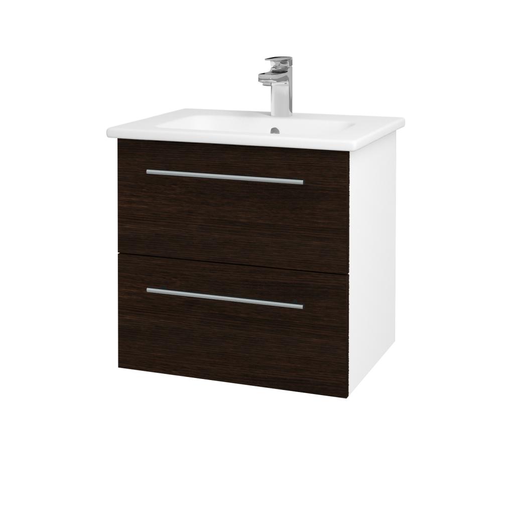 Dřevojas - Koupelnová skříň GIO SZZ2 60 - N01 Bílá lesk / Úchytka T02 / D08 Wenge (82812B)
