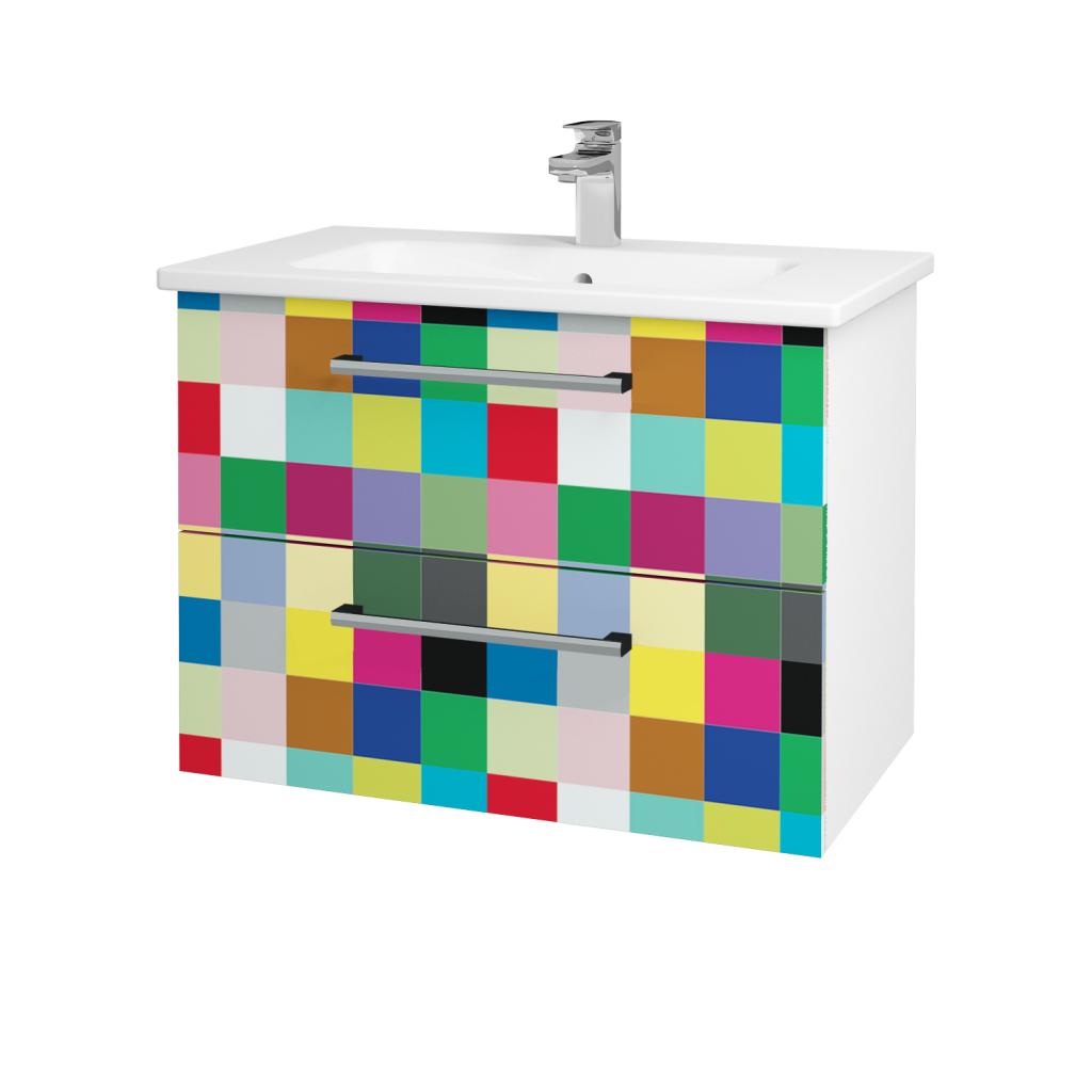 Dřevojas - Koupelnová skříň GIO SZZ2 80 - N01 Bílá lesk / Úchytka T03 / IND Individual (82027C)