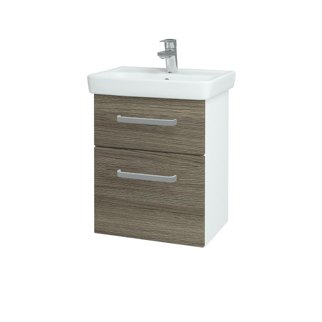 Dřevojas - Koupelnová skříň GO SZZ2 50 - N01 Bílá lesk / Úchytka T01 / D03 Cafe (27912A)