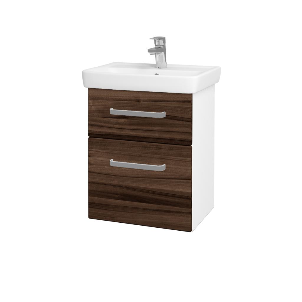 Dřevojas - Koupelnová skříň GO SZZ2 50 - N01 Bílá lesk / Úchytka T01 / D06 Ořech (20678A)