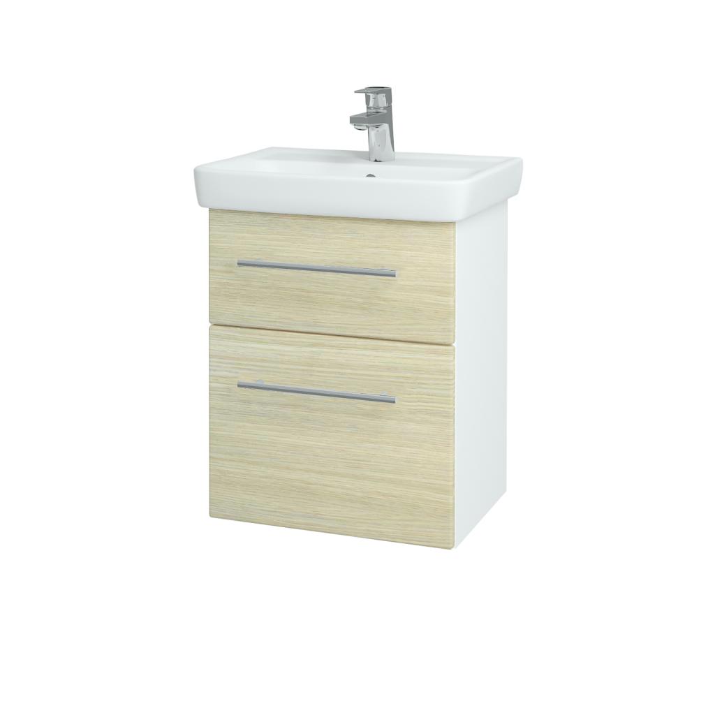 Dřevojas - Koupelnová skříň GO SZZ2 50 - N01 Bílá lesk / Úchytka T02 / D04 Dub (27943B)