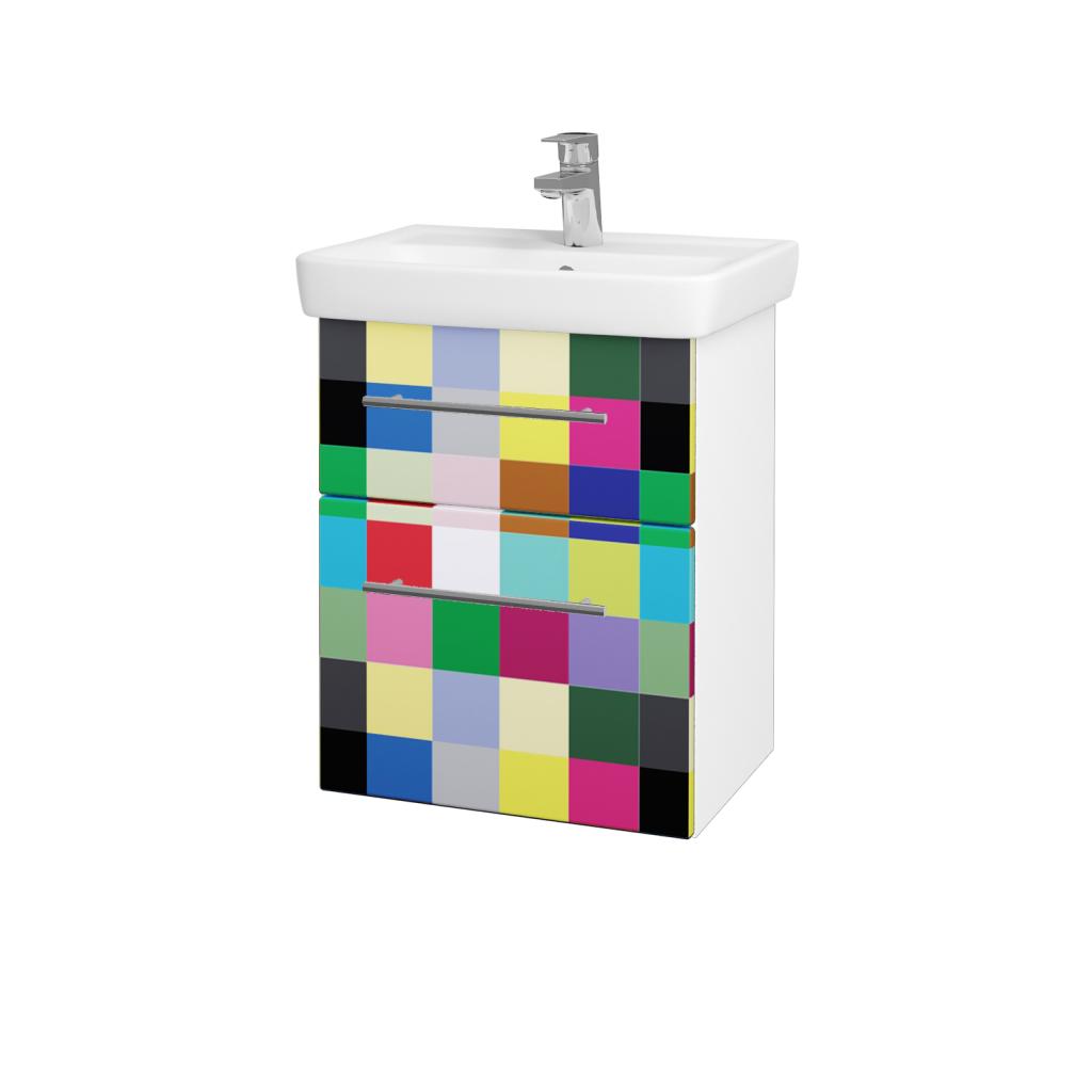 Dřevojas - Koupelnová skříň GO SZZ2 50 - N01 Bílá lesk / Úchytka T02 / IND Individual (23815B)