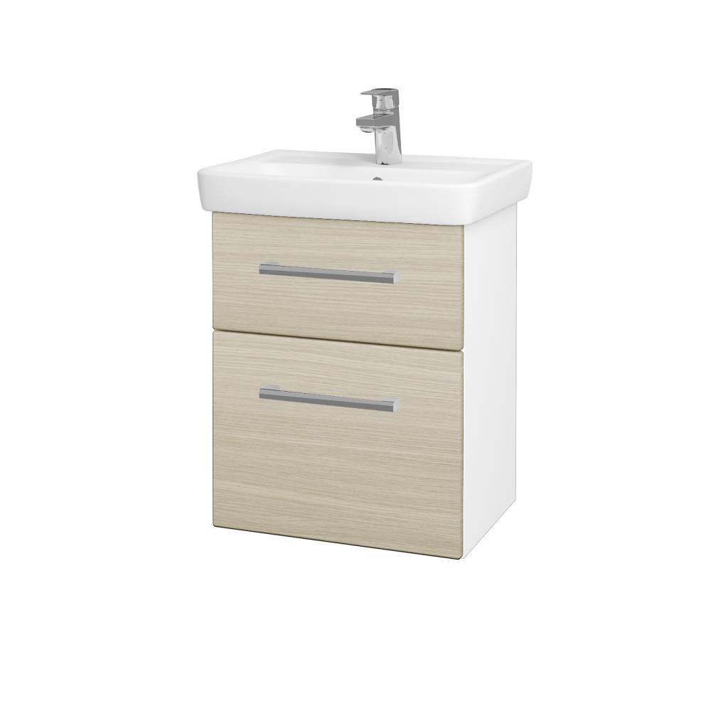 Dřevojas - Koupelnová skříň GO SZZ2 50 - N01 Bílá lesk / Úchytka T03 / D04 Dub (27943C)