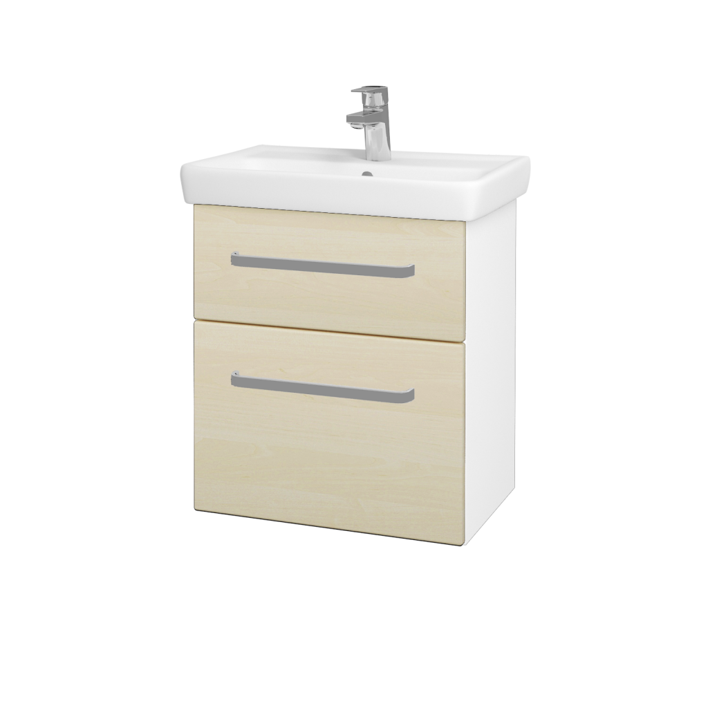 Dřevojas - Koupelnová skříň GO SZZ2 55 - N01 Bílá lesk / Úchytka T01 / D02 Bříza (28018A)