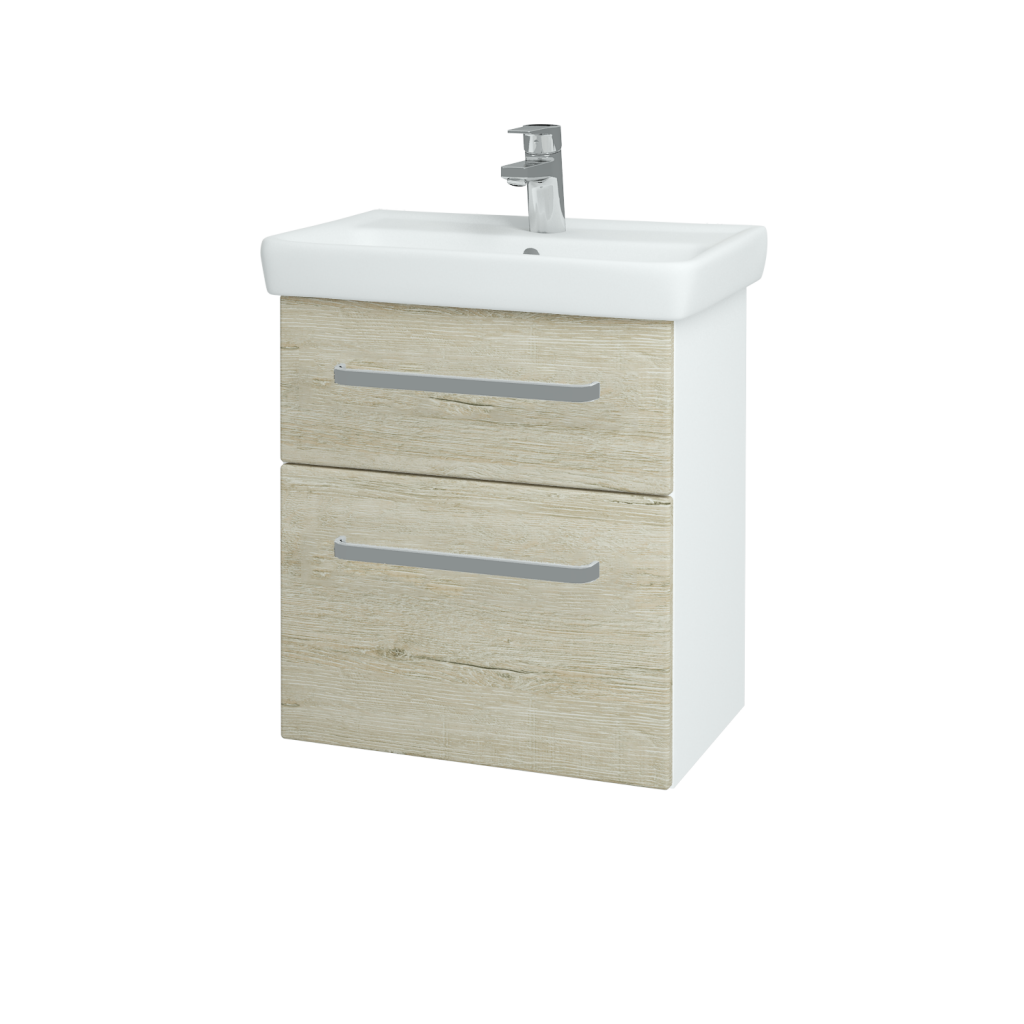 Dřevojas - Koupelnová skříň GO SZZ2 55 - N01 Bílá lesk / Úchytka T01 / D05 Oregon (27981A)