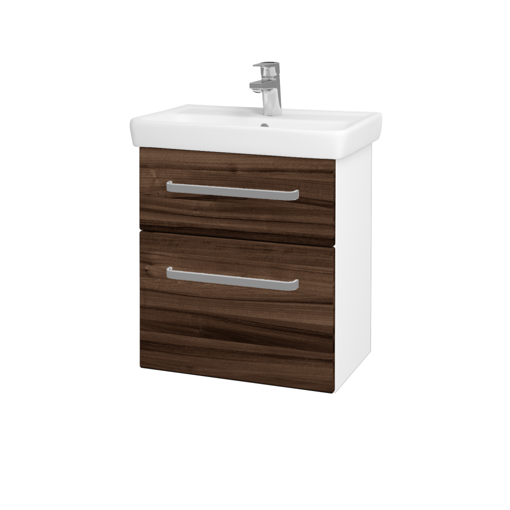 Dřevojas - Koupelnová skříň GO SZZ2 55 - N01 Bílá lesk / Úchytka T01 / D06 Ořech (20715A)