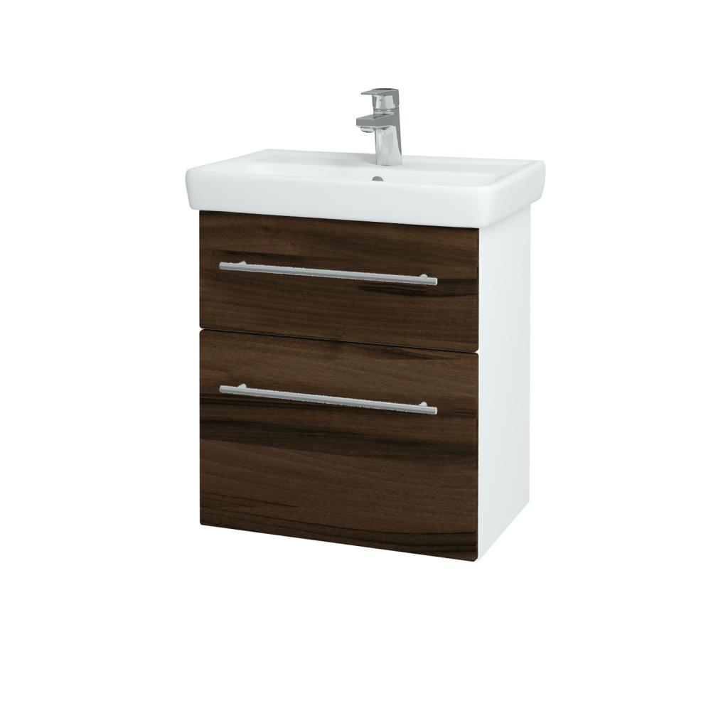 Dřevojas - Koupelnová skříň GO SZZ2 55 - N01 Bílá lesk / Úchytka T02 / D06 Ořech (20715B)