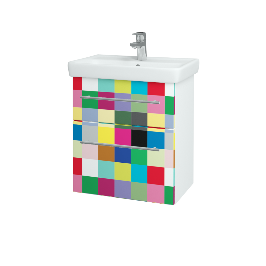 Dřevojas - Koupelnová skříň GO SZZ2 55 - N01 Bílá lesk / Úchytka T02 / IND Individual (23822B)