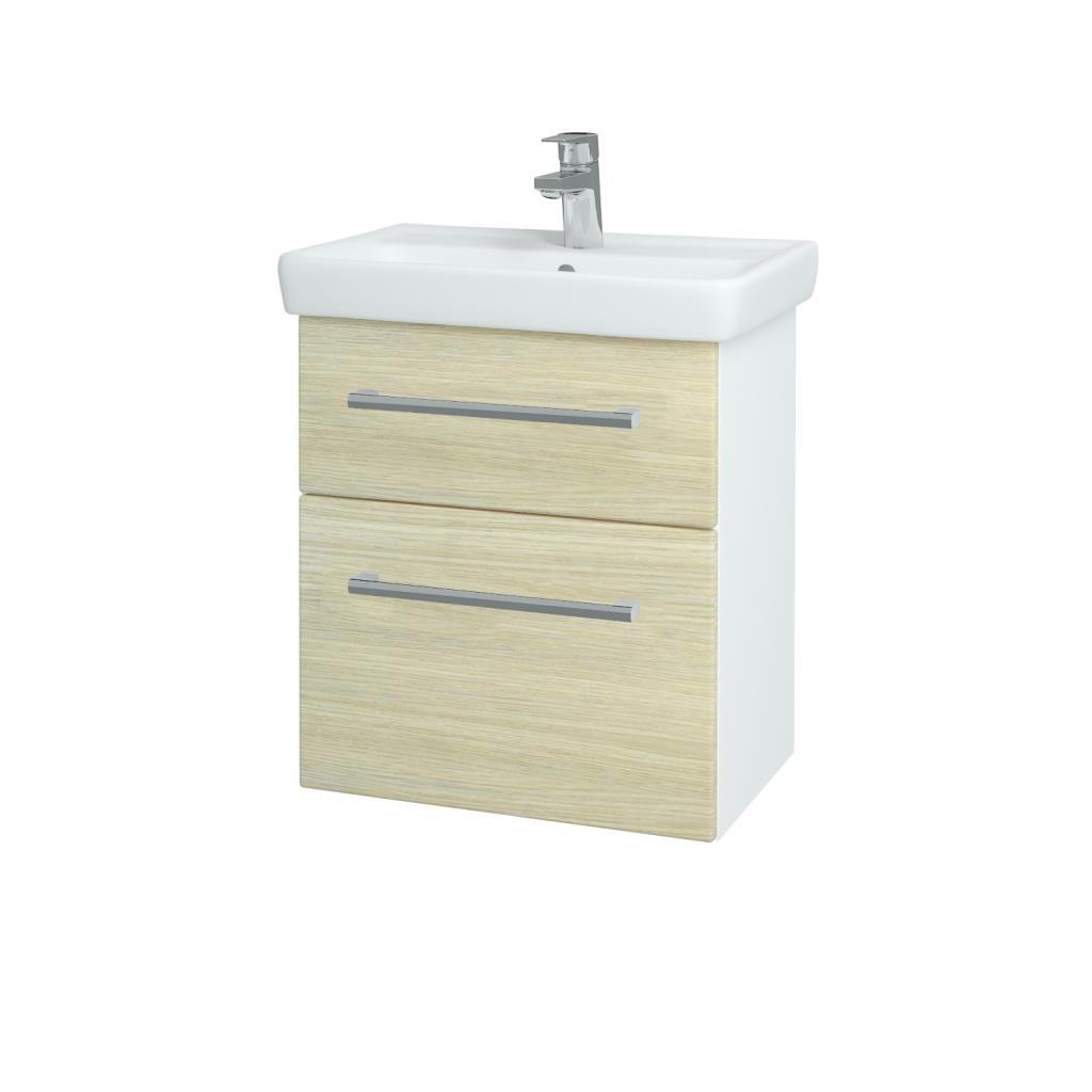 Dřevojas - Koupelnová skříň GO SZZ2 55 - N01 Bílá lesk / Úchytka T03 / D04 Dub (27950C)