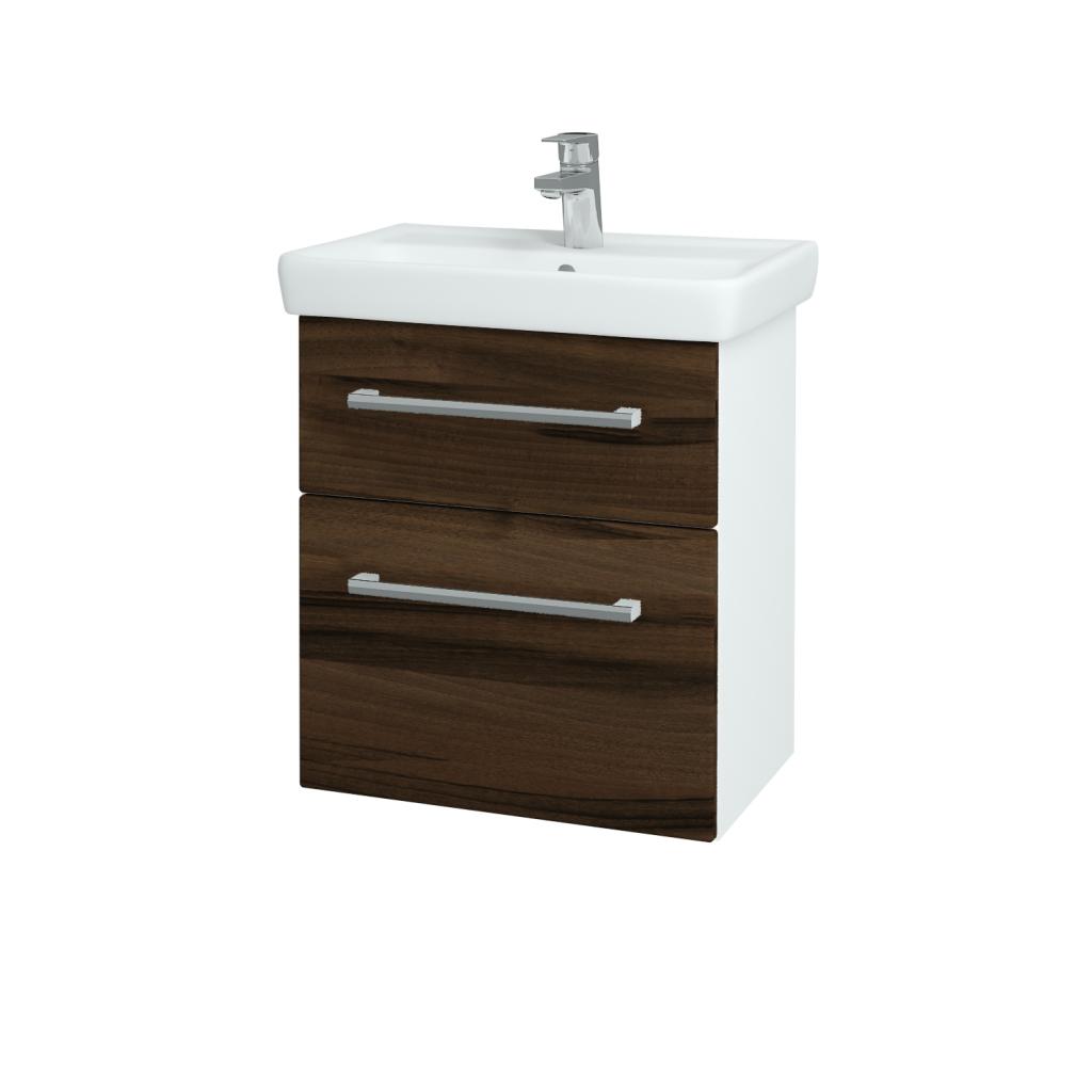 Dřevojas - Koupelnová skříň GO SZZ2 55 - N01 Bílá lesk / Úchytka T03 / D06 Ořech (20715C)