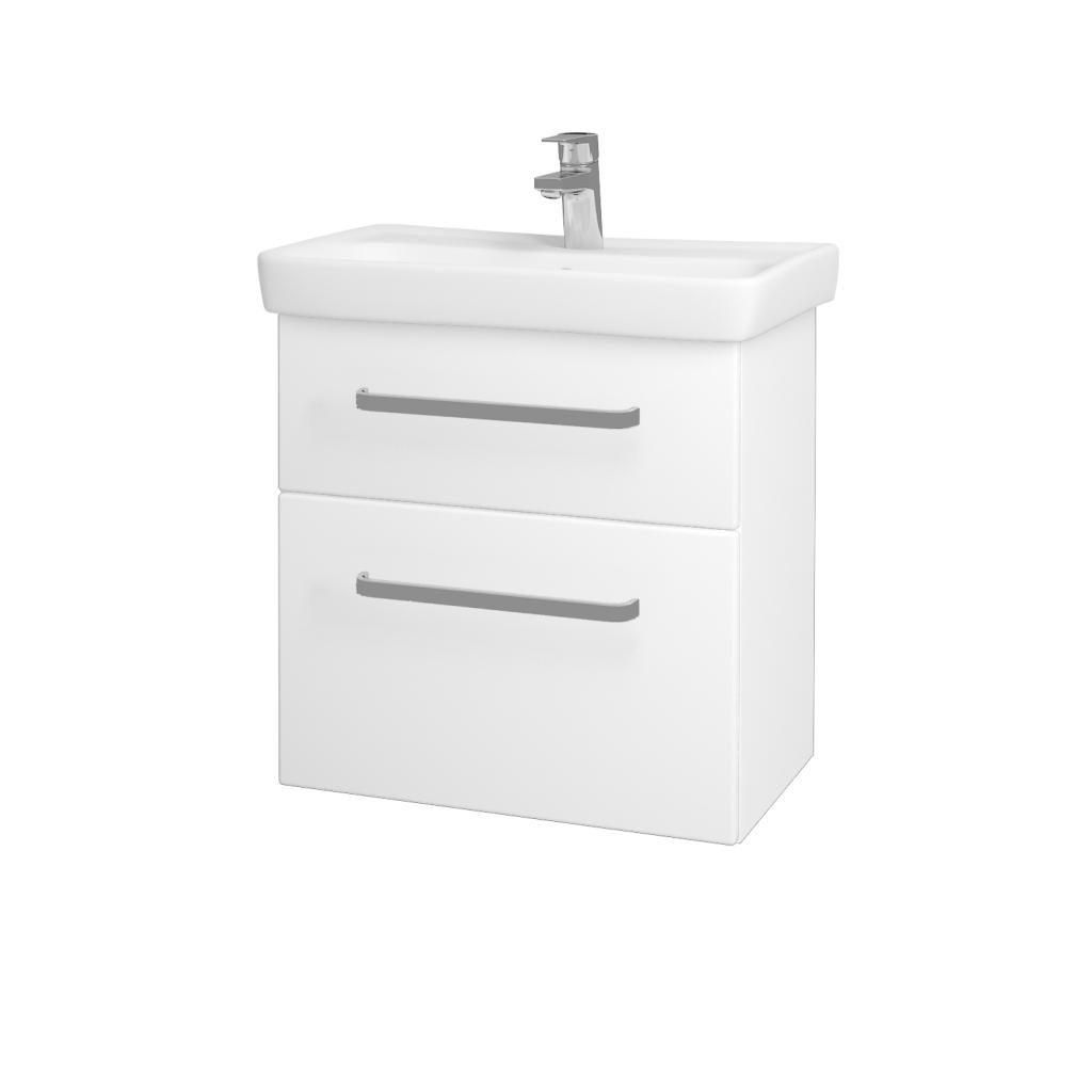 Dřevojas - Koupelnová skříň GO SZZ2 60 - N01 Bílá lesk / Úchytka T01 / L01 Bílá vysoký lesk (20760A)