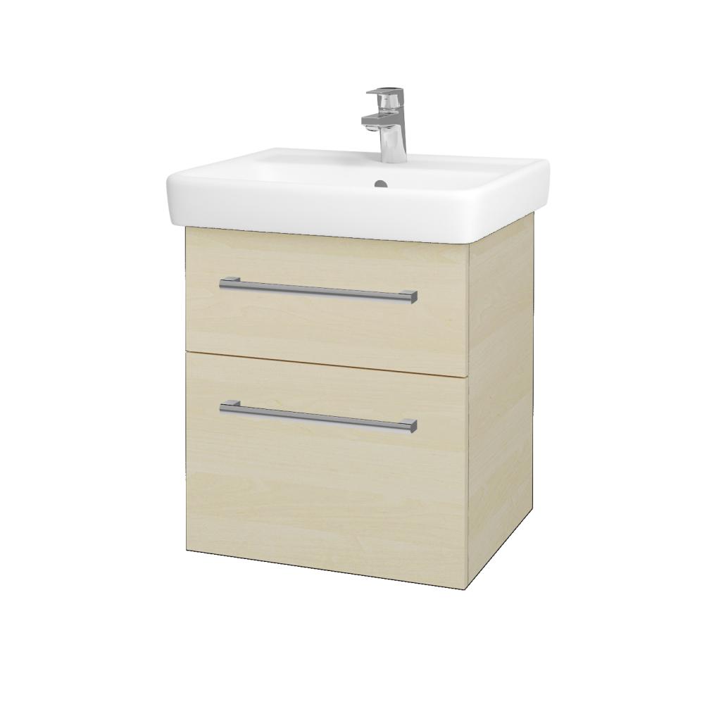 Dřevojas - Koupelnová skříň Q MAX SZZ2 55 - D02 Bříza / Úchytka T03 / D02 Bříza (61152C)