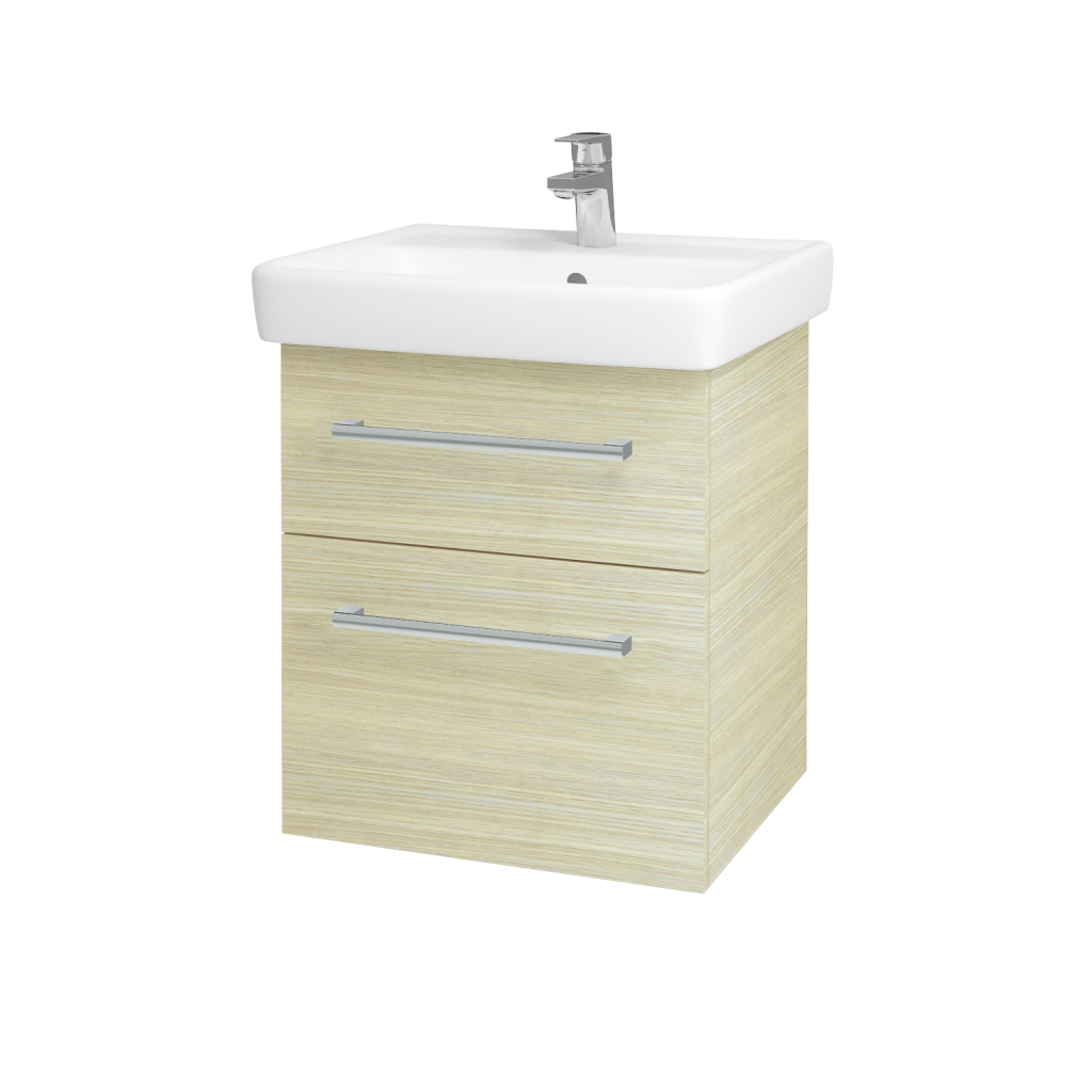 Dřevojas - Koupelnová skříň Q MAX SZZ2 55 - D04 Dub / Úchytka T03 / D04 Dub (61282C)