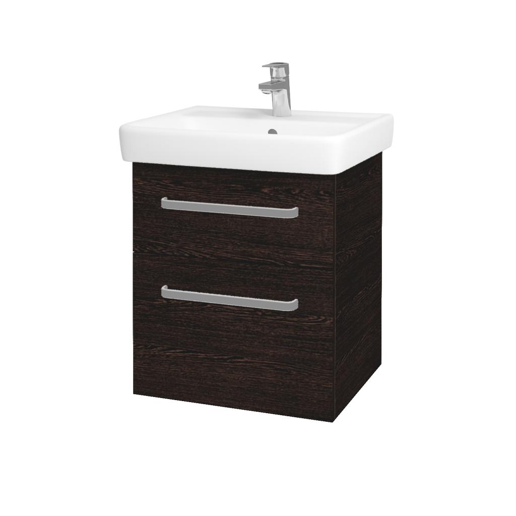 Dřevojas - Koupelnová skříň Q MAX SZZ2 55 - D08 Wenge / Úchytka T01 / D08 Wenge (61169A)