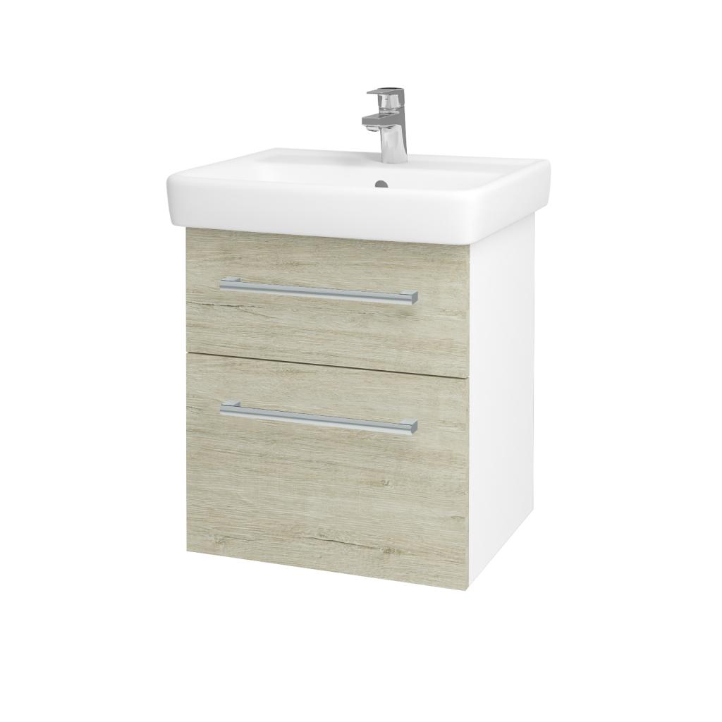Dřevojas - Koupelnová skříň Q MAX SZZ2 55 - N01 Bílá lesk / Úchytka T03 / D05 Oregon (61718C)