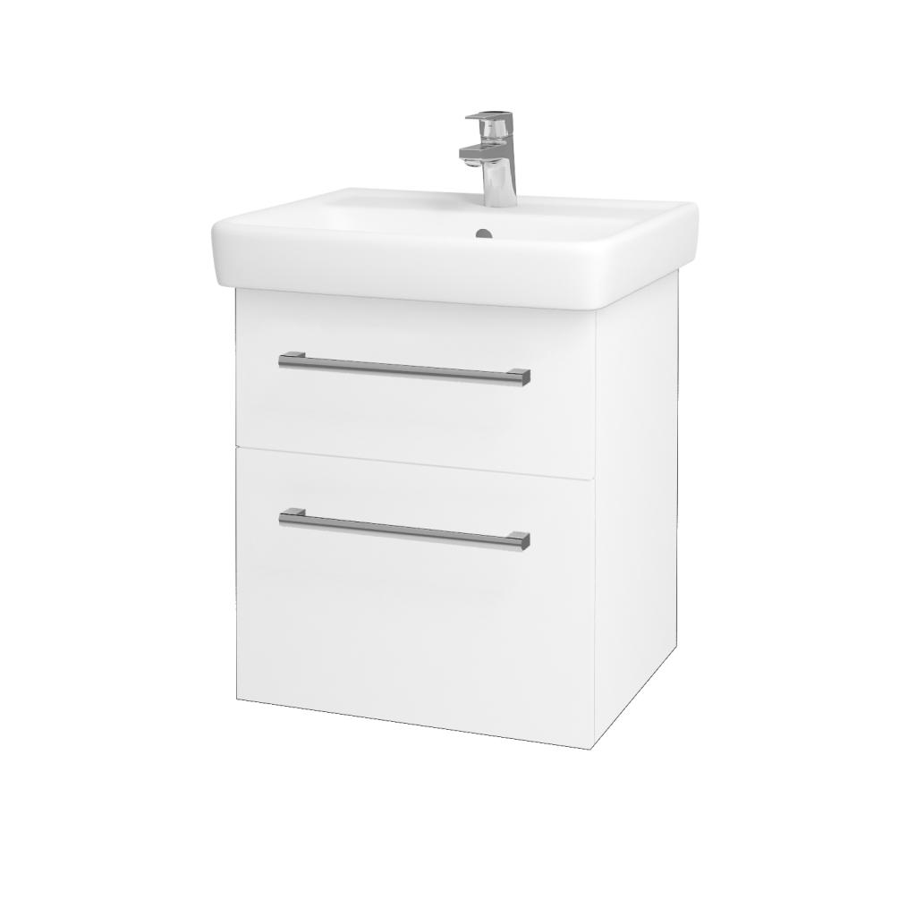 Dřevojas - Koupelnová skříň Q MAX SZZ2 55 - N01 Bílá lesk / Úchytka T03 / L01 Bílá vysoký lesk (61251C)