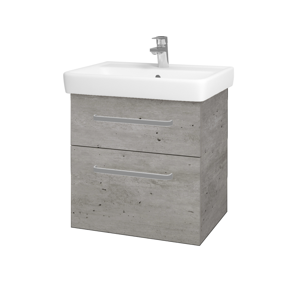 Dřevojas - Koupelnová skříň Q MAX SZZ2 60 - D01 Beton / Úchytka T01 / D01 Beton (67529A)