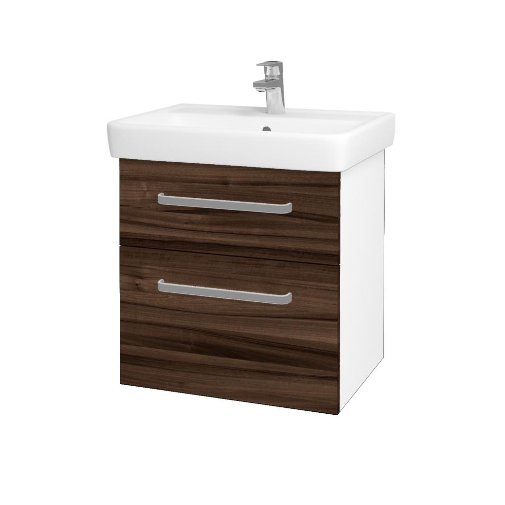 Dřevojas - Koupelnová skříň Q MAX SZZ2 60 - N01 Bílá lesk / Úchytka T01 / D06 Ořech (60230A)