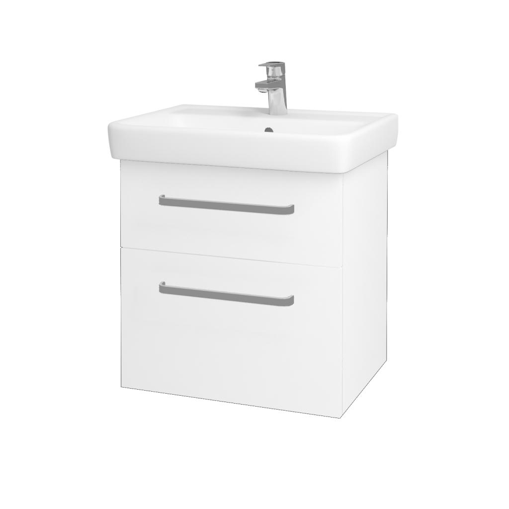 Dřevojas - Koupelnová skříň Q MAX SZZ2 60 - N01 Bílá lesk / Úchytka T01 / L01 Bílá vysoký lesk (60117A)
