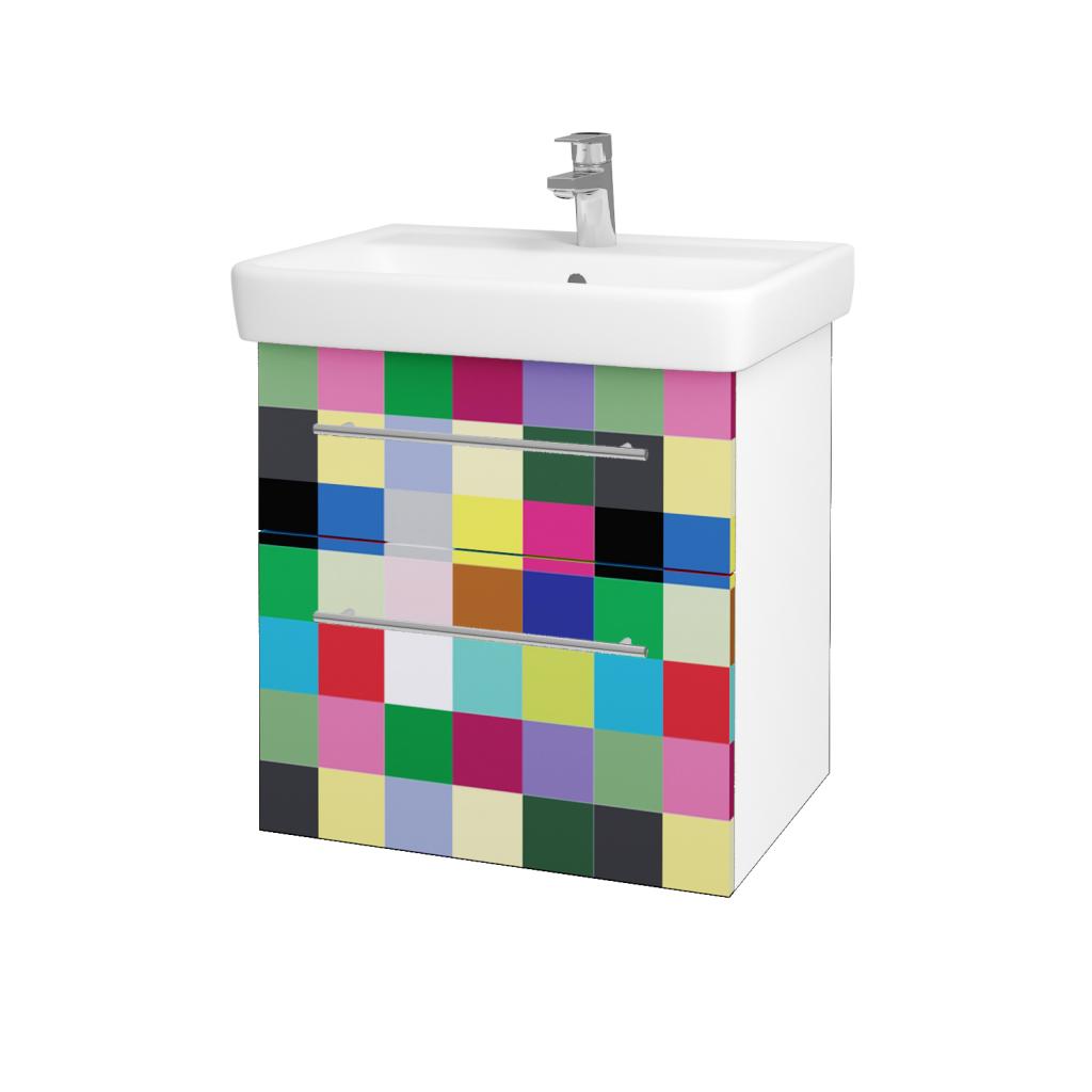 Dřevojas - Koupelnová skříň Q MAX SZZ2 60 - N01 Bílá lesk / Úchytka T02 / IND Individual (61558B)