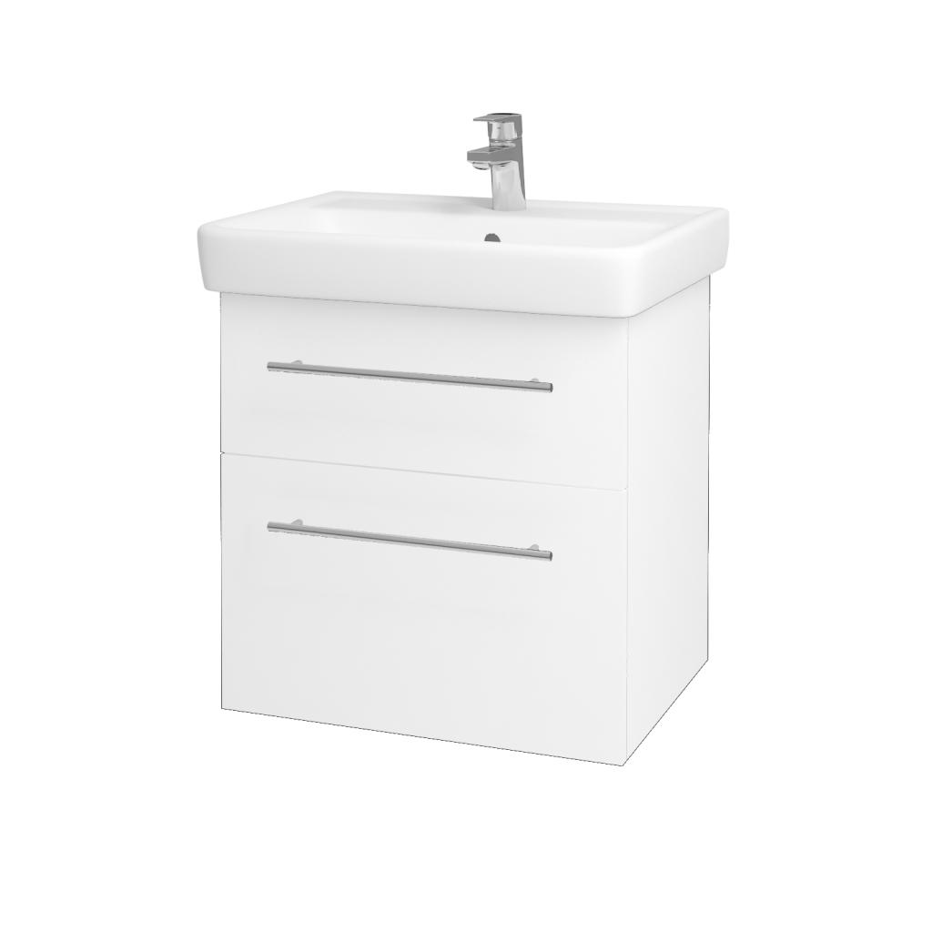 Dřevojas - Koupelnová skříň Q MAX SZZ2 60 - N01 Bílá lesk / Úchytka T02 / L01 Bílá vysoký lesk (60117B)