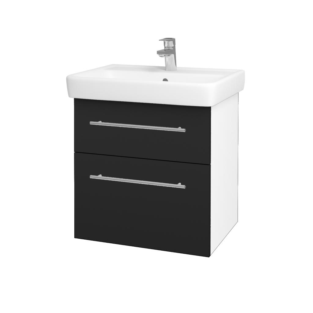Dřevojas - Koupelnová skříň Q MAX SZZ2 60 - N01 Bílá lesk / Úchytka T02 / L03 Antracit vysoký lesk (60100B)
