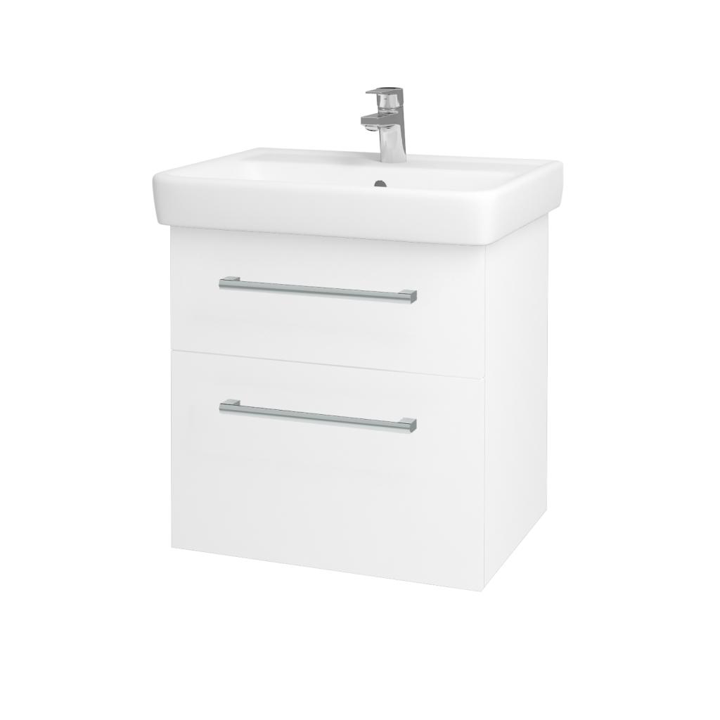 Dřevojas - Koupelnová skříň Q MAX SZZ2 60 - N01 Bílá lesk / Úchytka T03 / L01 Bílá vysoký lesk (60117C)