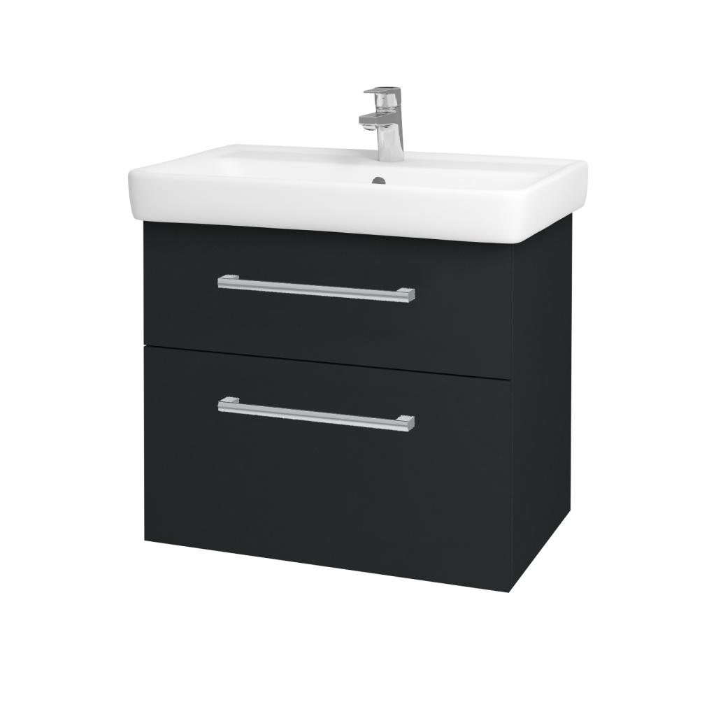 Dřevojas - Koupelnová skříň Q MAX SZZ2 70 - L03 Antracit vysoký lesk / Úchytka T03 / L03 Antracit vysoký lesk (60384C)