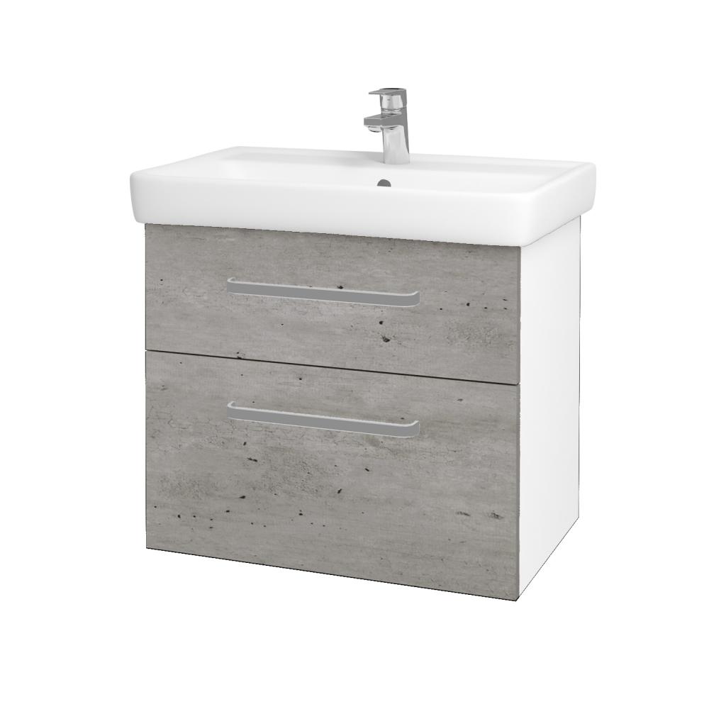 Dřevojas - Koupelnová skříň Q MAX SZZ2 70 - N01 Bílá lesk / Úchytka T01 / D01 Beton (67499A)