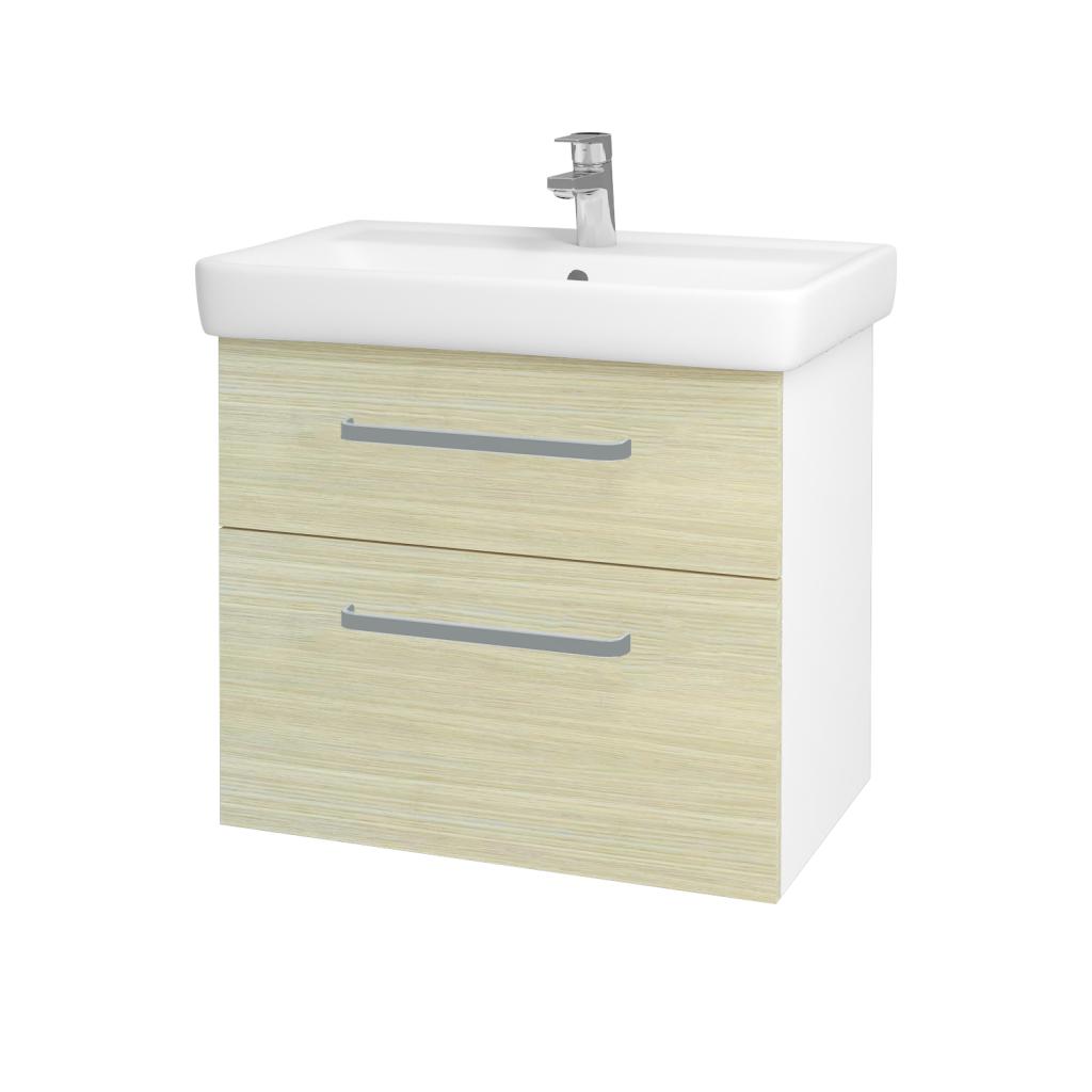 Dřevojas - Koupelnová skříň Q MAX SZZ2 70 - N01 Bílá lesk / Úchytka T01 / D04 Dub (60247A)