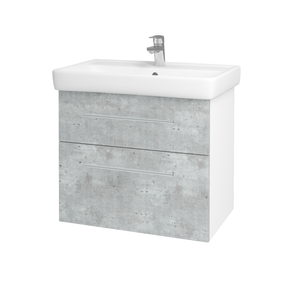 Dřevojas - Koupelnová skříň Q MAX SZZ2 70 - N01 Bílá lesk / Úchytka T02 / D01 Beton (67499B)