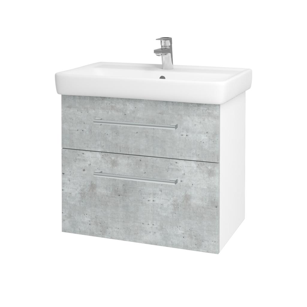 Dřevojas - Koupelnová skříň Q MAX SZZ2 70 - N01 Bílá lesk / Úchytka T03 / D01 Beton (67499C)