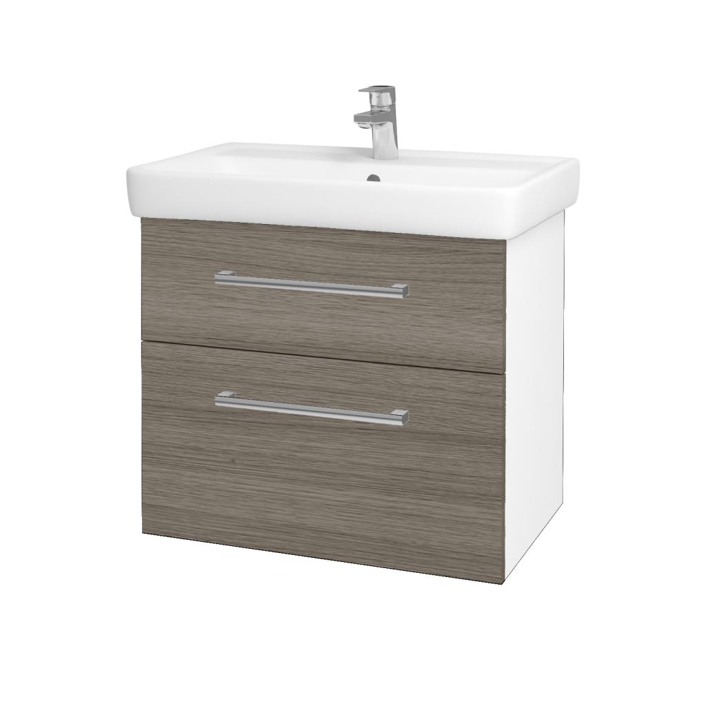 Dřevojas - Koupelnová skříň Q MAX SZZ2 70 - N01 Bílá lesk / Úchytka T03 / D03 Cafe (68410C)