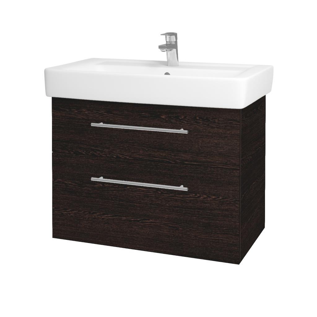 Dřevojas - Koupelnová skříň Q MAX SZZ2 80 - D08 Wenge / Úchytka T02 / D08 Wenge (60339B)