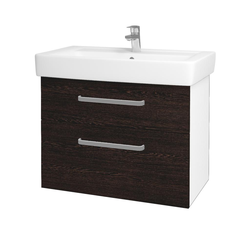 Dřevojas - Koupelnová skříň Q MAX SZZ2 80 - N01 Bílá lesk / Úchytka T01 / D08 Wenge (60094A)