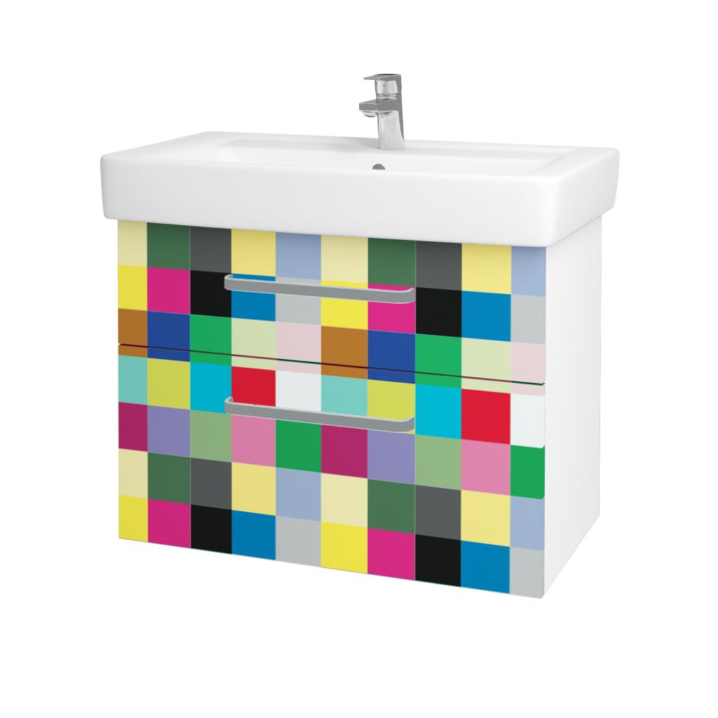 Dřevojas - Koupelnová skříň Q MAX SZZ2 80 - N01 Bílá lesk / Úchytka T01 / IND Individual (61572A)