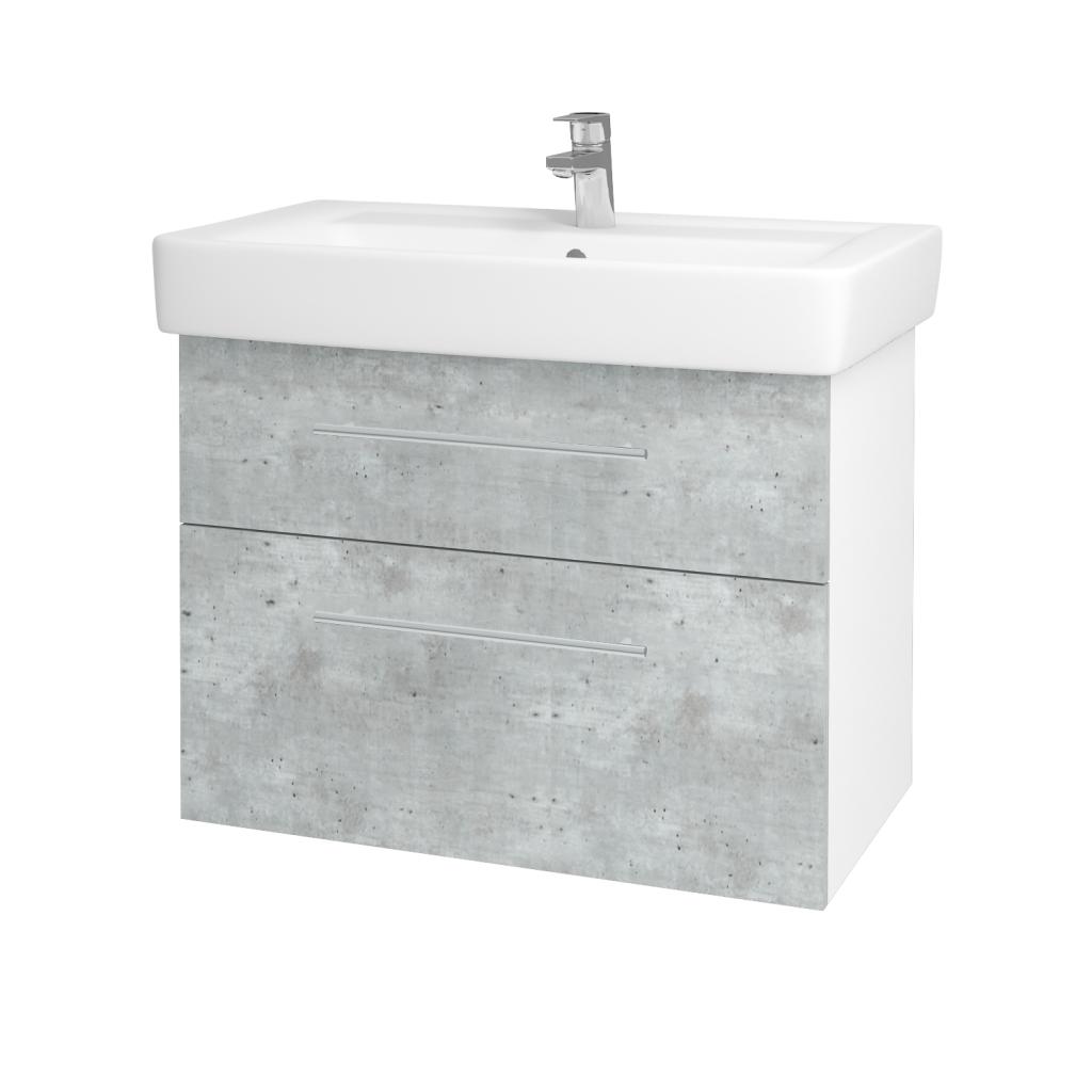 Dřevojas - Koupelnová skříň Q MAX SZZ2 80 - N01 Bílá lesk / Úchytka T02 / D01 Beton (67505B)