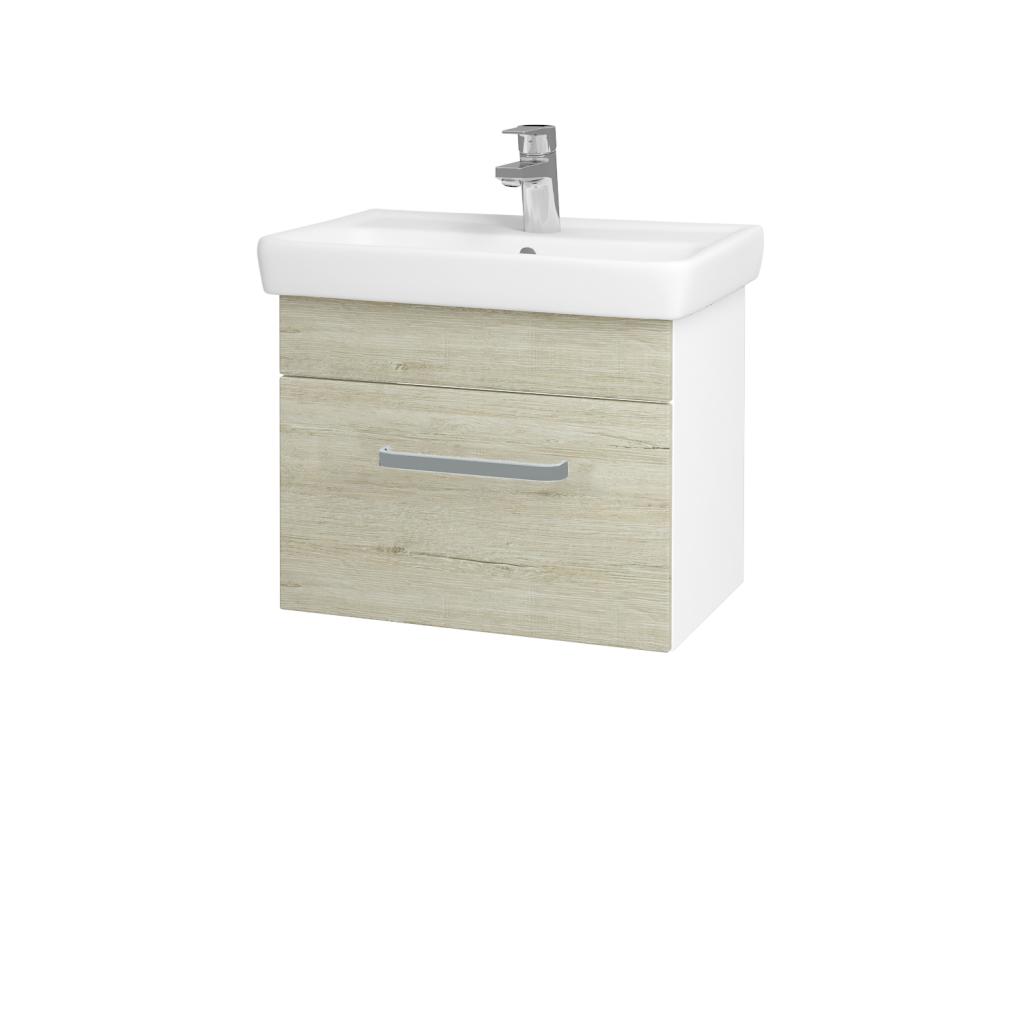 Dřevojas - Koupelnová skříň SOLO SZZ 55 - N01 Bílá lesk / Úchytka T01 / D05 Oregon (23679A)