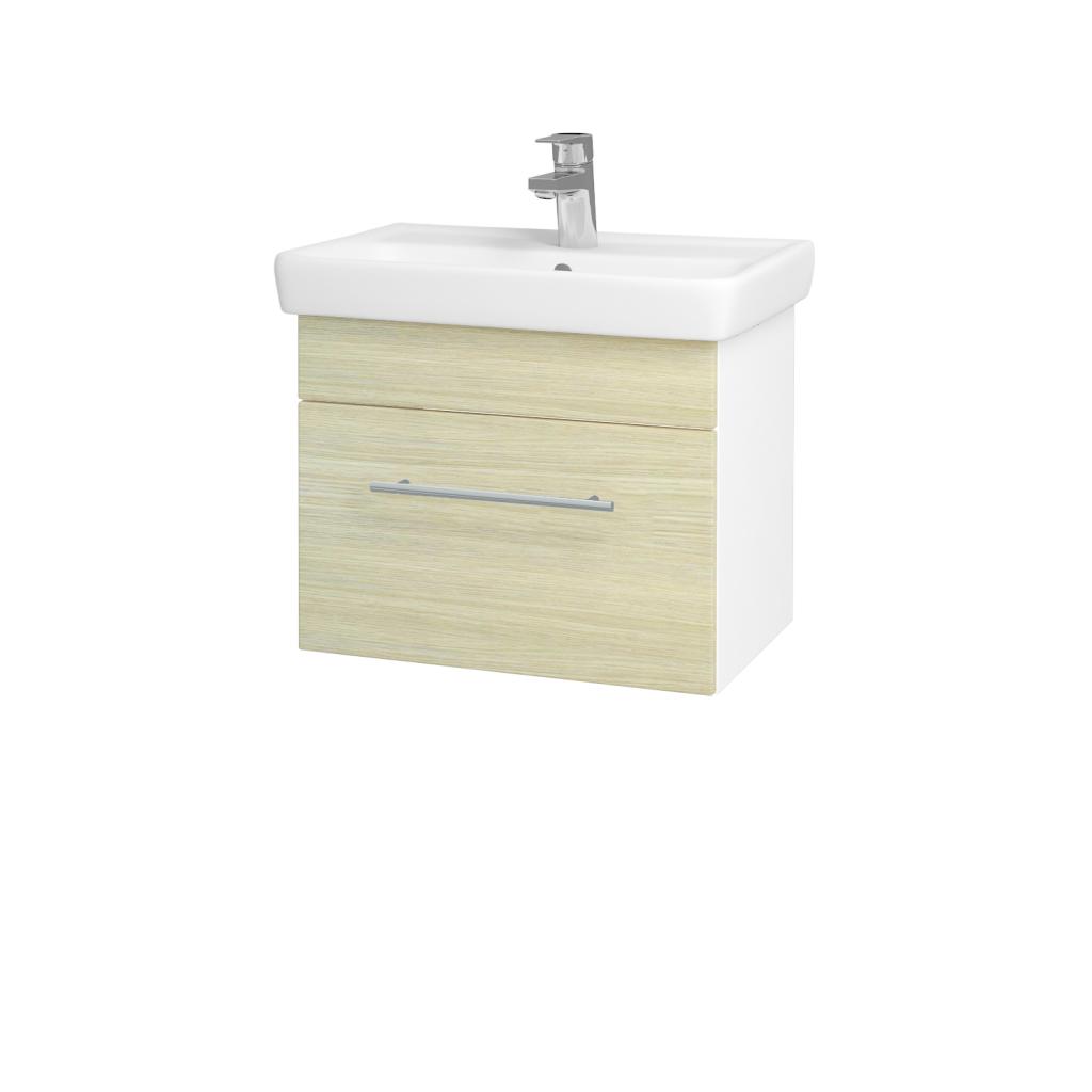 Dřevojas - Koupelnová skříň SOLO SZZ 55 - N01 Bílá lesk / Úchytka T02 / D04 Dub (21866B)