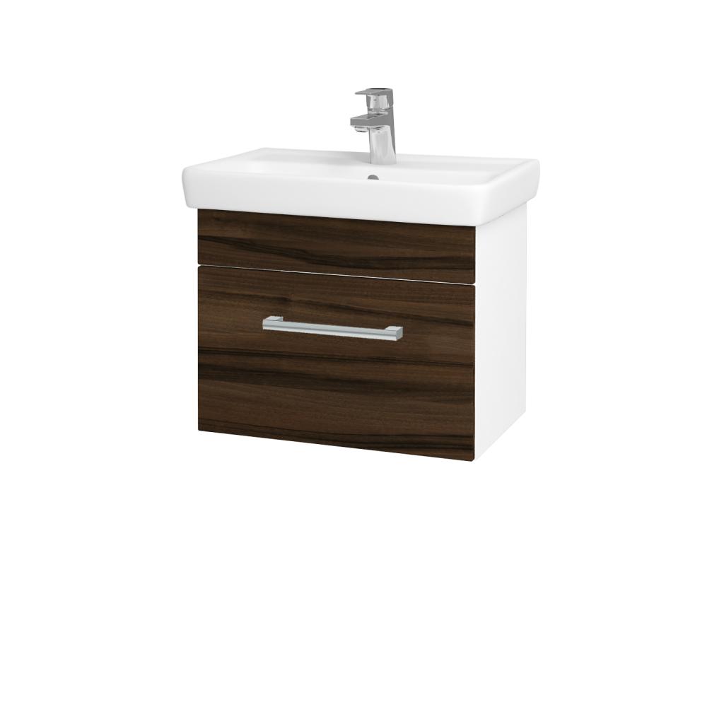 Dřevojas - Koupelnová skříň SOLO SZZ 55 - N01 Bílá lesk / Úchytka T03 / D06 Ořech (21873C)