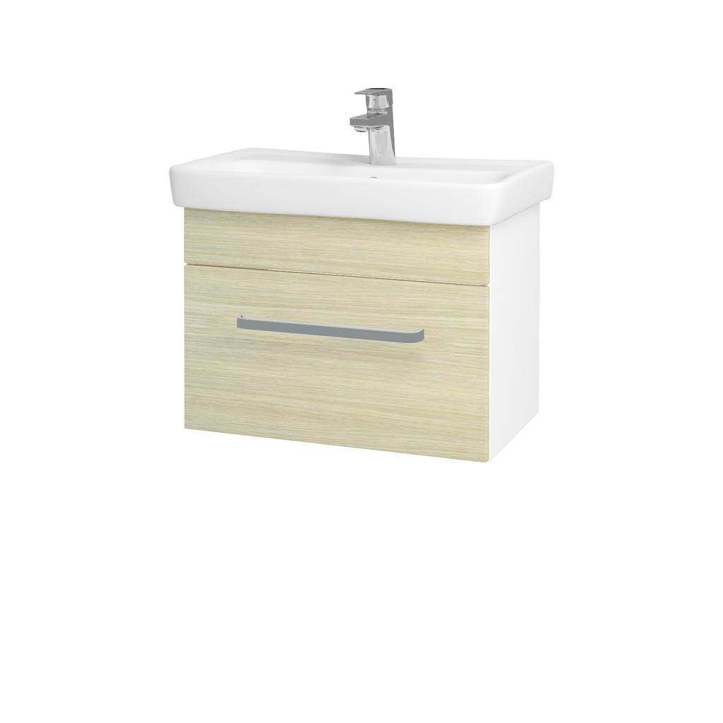 Dřevojas - Koupelnová skříň SOLO SZZ 60 - N01 Bílá lesk / Úchytka T01 / D04 Dub (21880A)