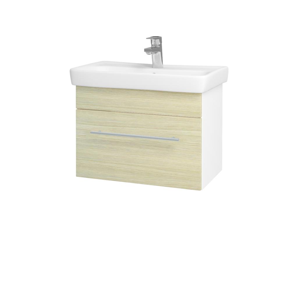 Dřevojas - Koupelnová skříň SOLO SZZ 60 - N01 Bílá lesk / Úchytka T02 / D04 Dub (21880B)