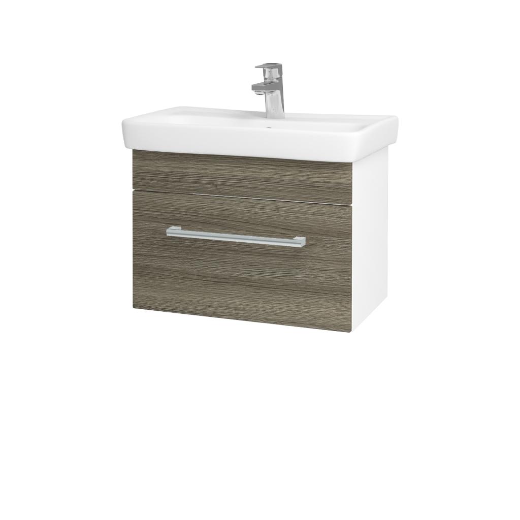 Dřevojas - Koupelnová skříň SOLO SZZ 60 - N01 Bílá lesk / Úchytka T03 / D03 Cafe (21187C)