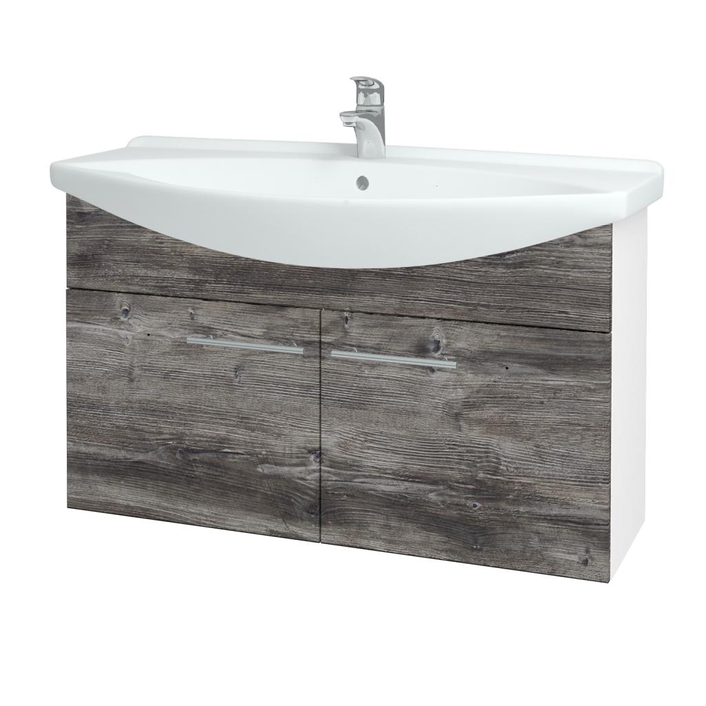 Dřevojas - Koupelnová skříň TAKE IT SZD2 105 - N01 Bílá lesk / Úchytka T02 / D10 Borovice Jackson (206369B)