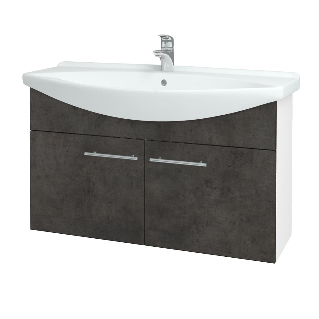 Dřevojas - Koupelnová skříň TAKE IT SZD2 105 - N01 Bílá lesk / Úchytka T02 / D16 Beton tmavý (206383B)