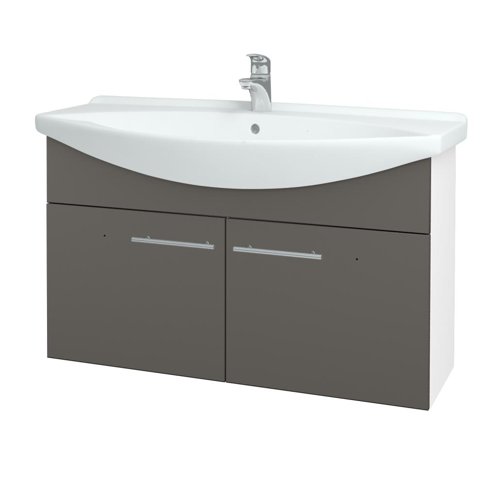 Dřevojas - Koupelnová skříň TAKE IT SZD2 105 - N01 Bílá lesk / Úchytka T02 / N06 Lava (206413B)