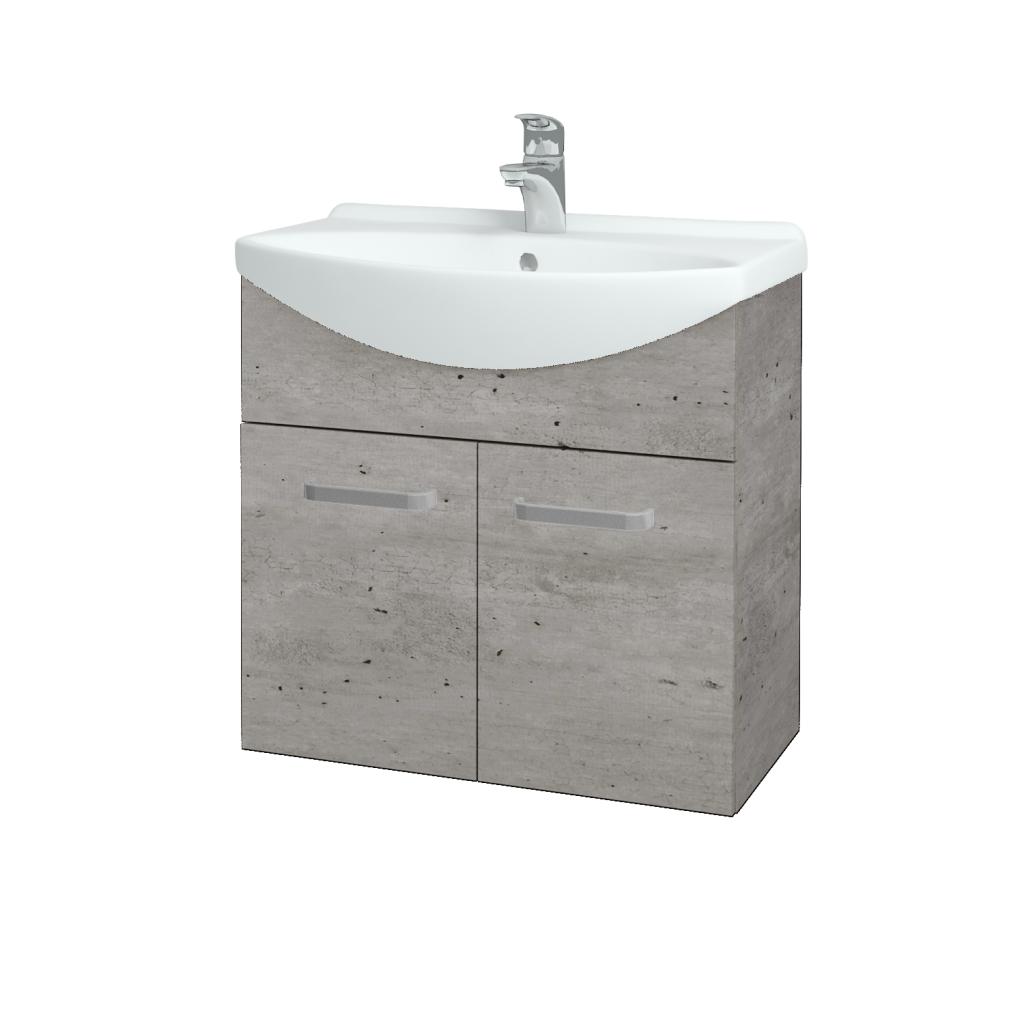 Dřevojas - Koupelnová skříň TAKE IT SZD2 65 - D01 Beton / Úchytka T01 / D01 Beton (133238A)