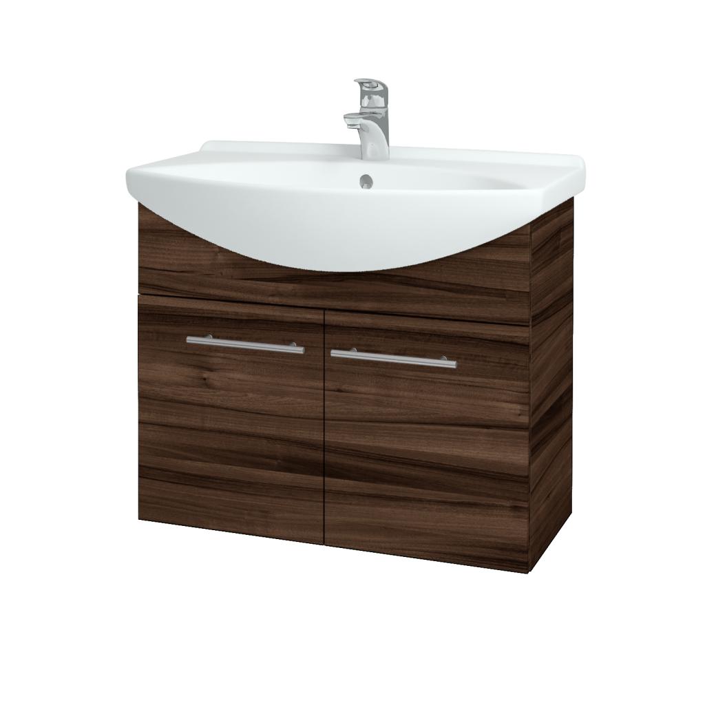 Dřevojas - Koupelnová skříň TAKE IT SZD2 75 - D06 Ořech / Úchytka T02 / D06 Ořech (133351B)