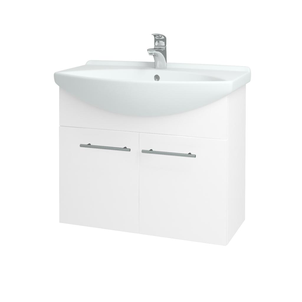 Dřevojas - Koupelnová skříň TAKE IT SZD2 75 - N01 Bílá lesk / Úchytka T02 / N01 Bílá lesk (133597B)